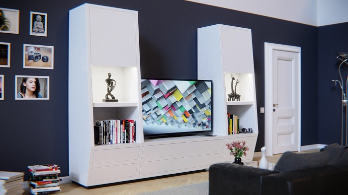 Biele obývacie steny a doplnky k nim